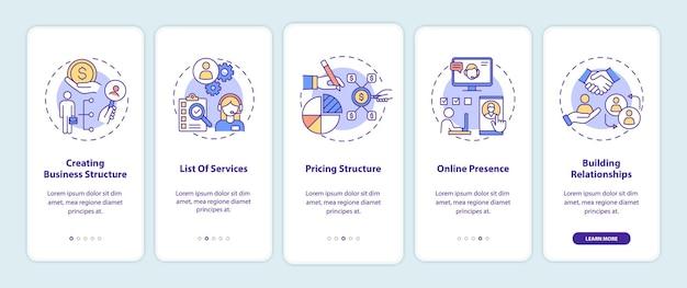 Bedrijfsbeheer onboarding mobiele app-paginascherm met concepten
