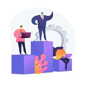 Bedrijfsbeheer, ondergeschiktheid, personeelswerkorganisatie. vaste afdelingen, hoofdkantoor en dochterondernemingen. uitvoerende en afgevaardigden stripfiguren. vector geïsoleerde concept metafoor illustratie.