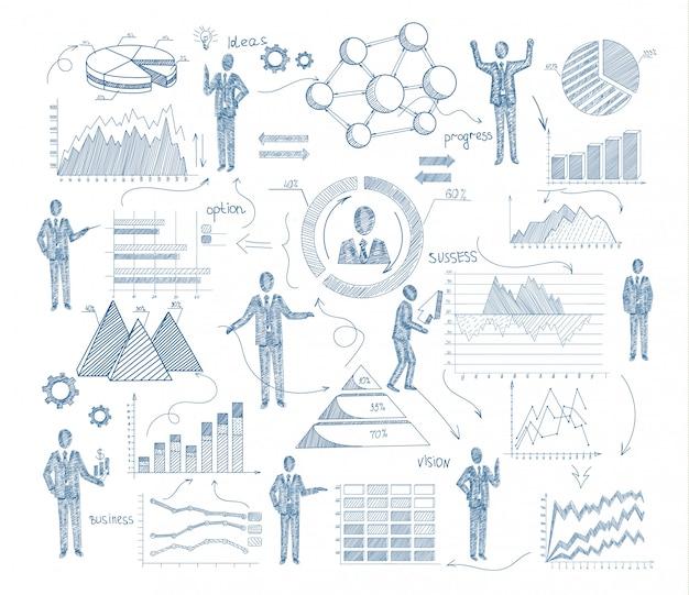Bedrijfsbeheerconcept met schetsmensen en grafieken