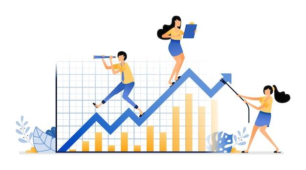 Bedrijfsbijeenkomst bij het kiezen van strategieën deals in financiële en beursschommelingen