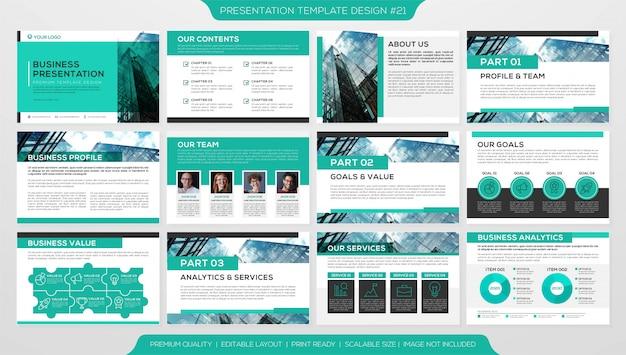 Bedrijfsboekje of bedrijfsprofiel met sjabloon voor meerdere pagina's