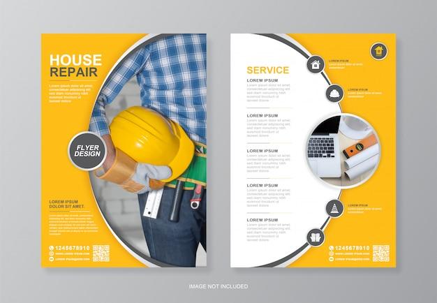 Bedrijfsbouwgereedschap cover, achterpagina a4 flyer ontwerpsjabloon en plat pictogrammen