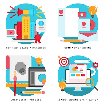 Bedrijfsbranding, logo-ontwerp, seo-concepten ontwerp