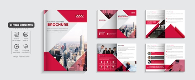 Bedrijfsbrochure bedrijfsprofiel van 8 pagina's en bedrijfsbrochureontwerp met meerdere pagina's premium vector