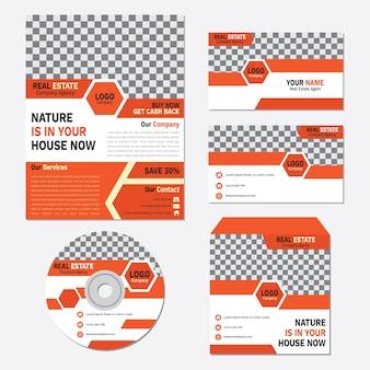 Bedrijfsbrochure, cd-dekking en kaartsjabloon vastgestelde oranje abstracte kleur