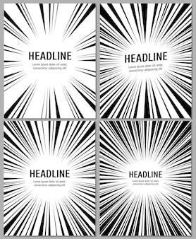Bedrijfsbrochure met radiale komische snelheidslijnen. sjabloon