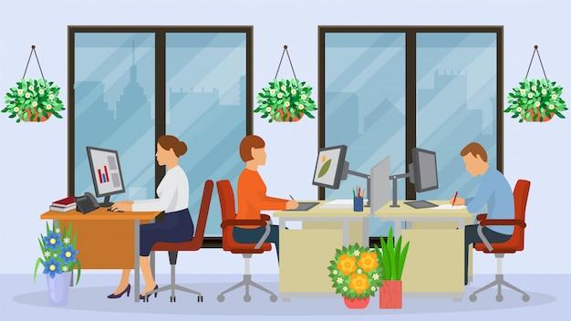 Bedrijfsbureau kantoor, karakter mannelijke en vrouwelijke zitten in co-working kabinet, illustratie.