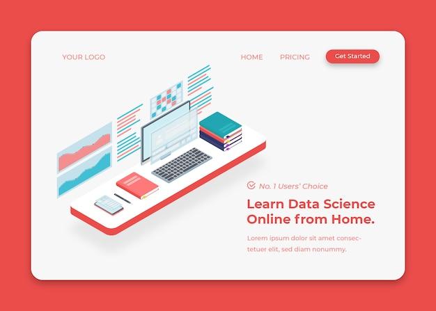 Bedrijfsbureau voor economische analyse en datawetenschap isometrische illustratie