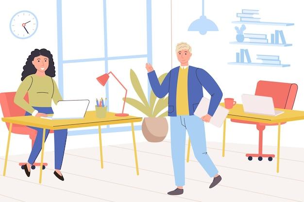 Bedrijfsbureauconcept gelukkige man en vrouwencollega's die elkaar werknemers begroeten
