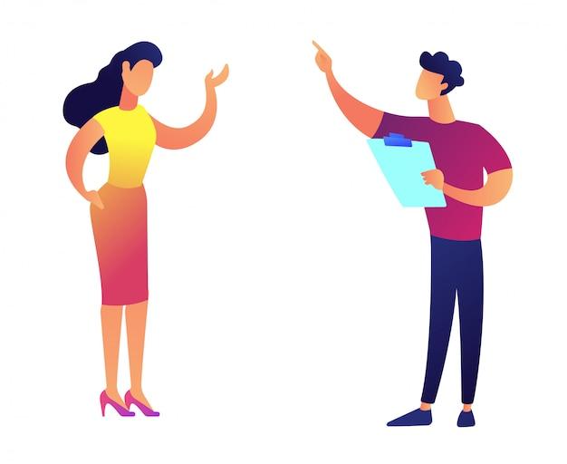 Bedrijfscollega's die en vectorillustratie spreken bespreken.