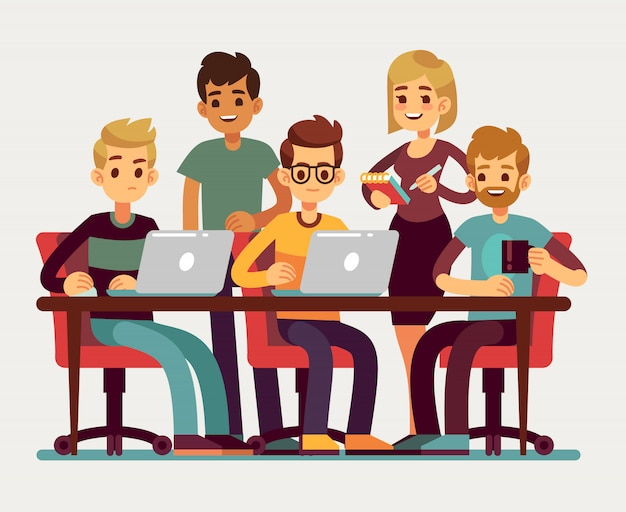 Bedrijfscollega's die op conferentie samenkomen. professioneel mensen geïsoleerd vectorgroepswerkconcept. kantoorvergadering, teambusiness en illustratie van de teamwerkconferentie