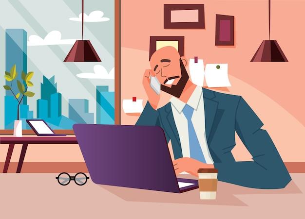 Bedrijfsconcept. algemene manager die op telefoon, illustratie spreekt.