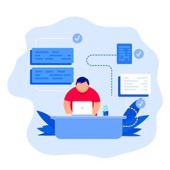 Bedrijfsconcept. een jonge programmeur programmeert de code