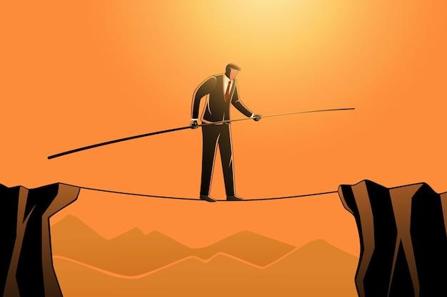 Bedrijfsconcept, een zakenman die op touw loopt terwijl hij een paal vasthoudt