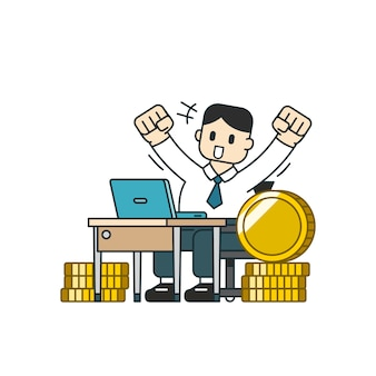 Bedrijfsconcept een zakenman met grote muntenstapel