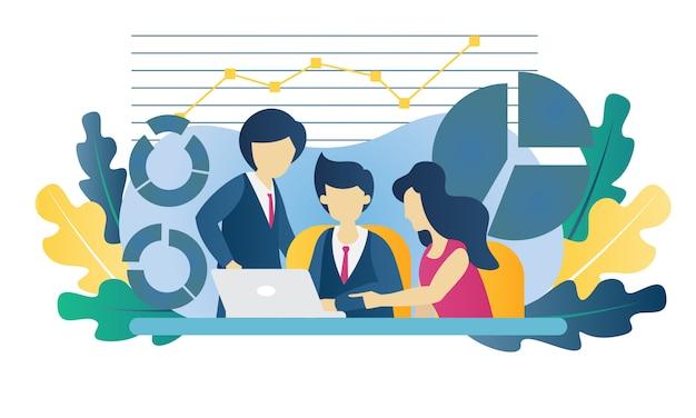 Bedrijfsconcept grafiek vlakke afbeelding