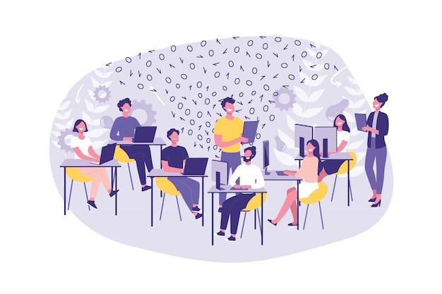 Bedrijfsconcept hackathon, programmeren. groep bedienden of programmeurs doen hun werk. teamwork hackers en managers op kantoor.