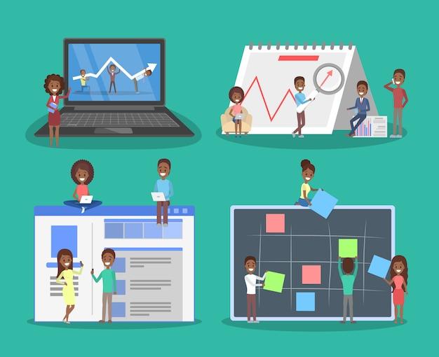 Bedrijfsconcept. idee van strategie en prestatie in teamwerk. brainstorm en succes. isometrische illustratie