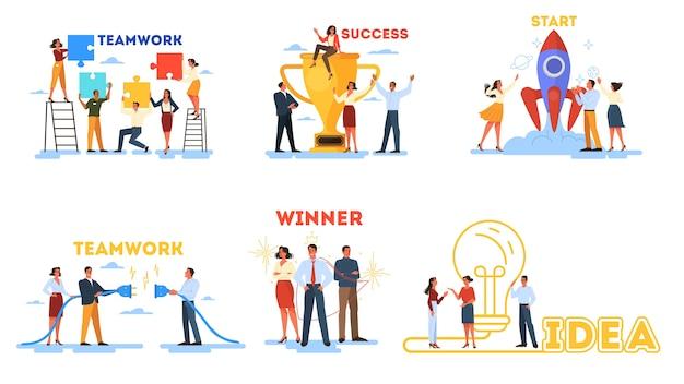 Bedrijfsconcept. idee van strategie en prestatie in teamwerk.