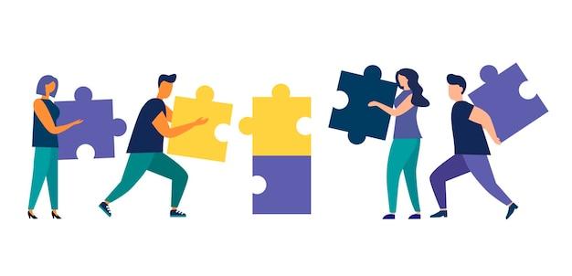 Bedrijfsconcept mensen verbinden puzzelstukjes team metafoor vector symbool van teamworkeps 10