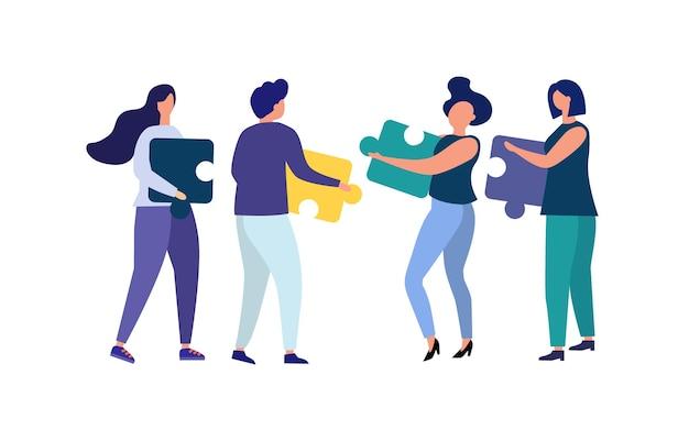 Bedrijfsconcept mensen verbinden puzzelstukjes team metafoor vector vlakke stijl symbool van teamwork