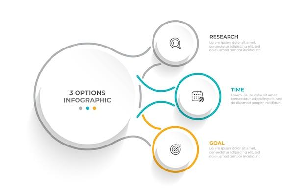 Bedrijfsconcept met 3 opties stappen of onderdelen