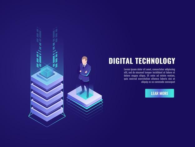 Bedrijfsconcept met computertechnologie-element