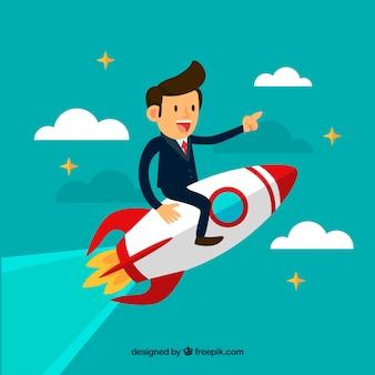 Bedrijfsconcept met man zit op raket