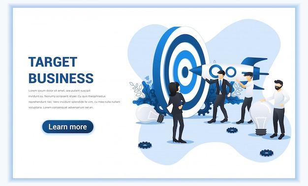 Bedrijfsconcept met mensen die een raket houden die op de doelraad wordt gericht voor de zaken van het bereikdoel. raak het doel, doelprestatie, leiderschap.