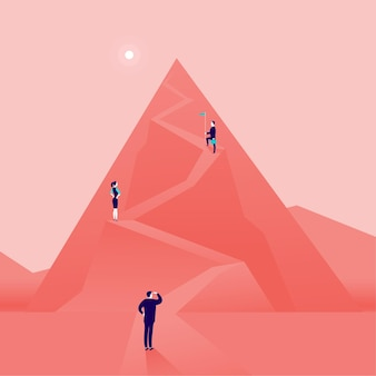 Bedrijfsconcept met mensen uit het bedrijfsleven bergweg beklimmen. vlakke stijl. carrière, leiderschap, groei, nieuwe doelen, ambities, omhoog gaan