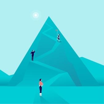 Bedrijfsconcept met mensen uit het bedrijfsleven bergweg beklimmen. vlakke stijl. carrière, vrouwelijk leiderschap, groei, nieuwe doelen, ambities, vrouwen stijgen op.