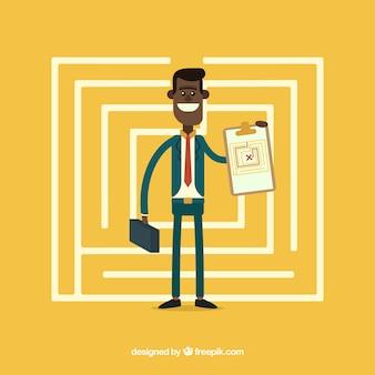 Bedrijfsconcept met platte labyrint