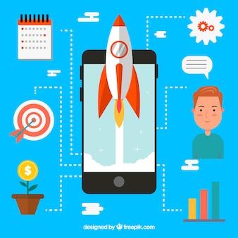 Bedrijfsconcept met raket en smartphone
