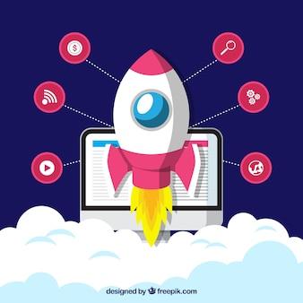 Bedrijfsconcept met raket