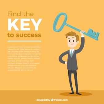 Bedrijfsconcept met sleutel tot succes