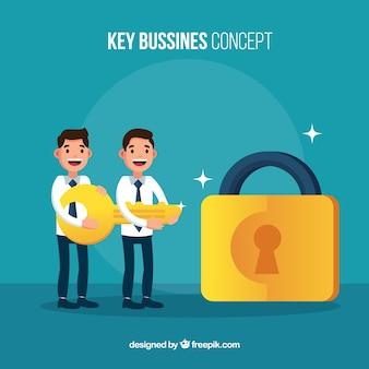 Bedrijfsconcept met vlakke sleutel