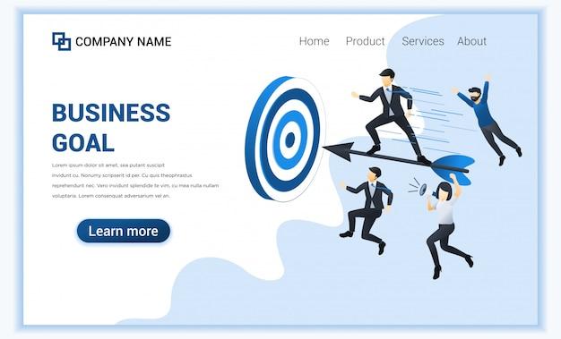 Bedrijfsconcept met zakenman die zich op pijltje bevinden om bedrijfsdoel te bereiken.