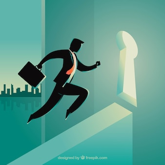 Bedrijfsconcept met zakenman en slot