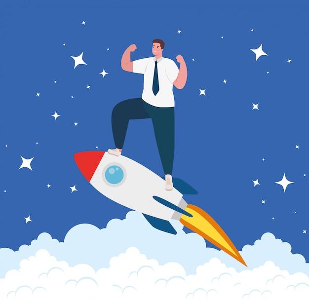 Bedrijfsconcept opstarten, banner, opstartproces van bedrijfsobjecten, zakenman in raket en wolken