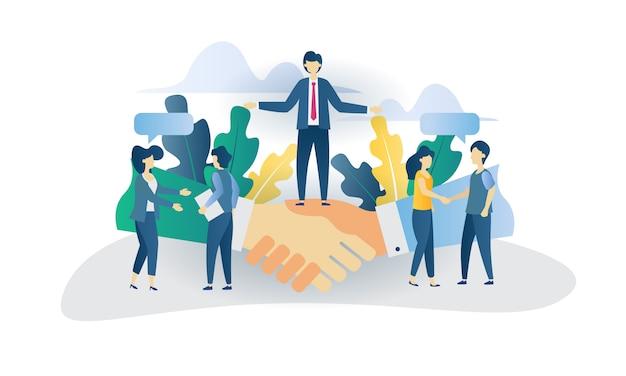 Bedrijfsconcept overeenkomst vlakke afbeelding
