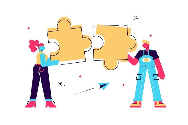 Bedrijfsconcept. team metafoor. mensen die puzzelelementen met elkaar verbinden