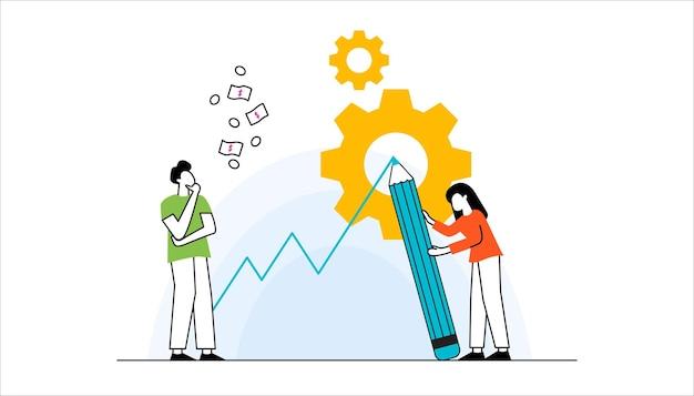 Bedrijfsconcept team metafoor mensen die puzzelelementen verbinden vector illustratie plat ontwerp