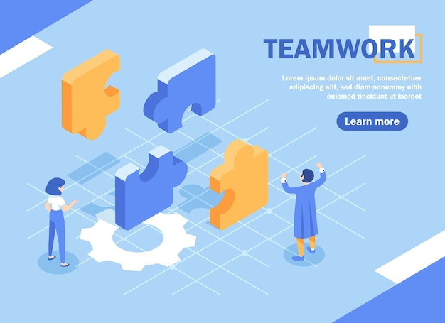 Bedrijfsconcept. team metafoor. mensen die puzzelelementen verbinden