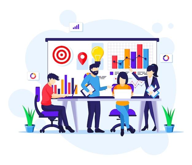 Bedrijfsconcept teamwerk, co-werken in vergadering en presentatie met gegevens statistieken platte vectorillustratie