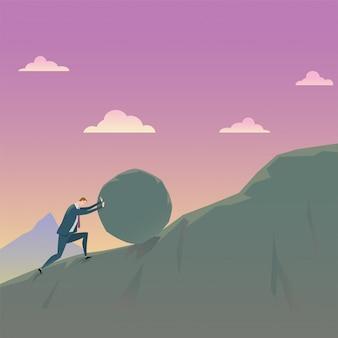 Bedrijfsconcept van het overwinnen van tegenspoedzakenman die een bergopwaartse rots duwen.