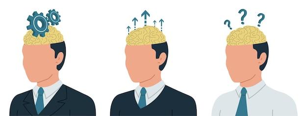 Bedrijfsconcept van menselijk hersenwerk denken werk