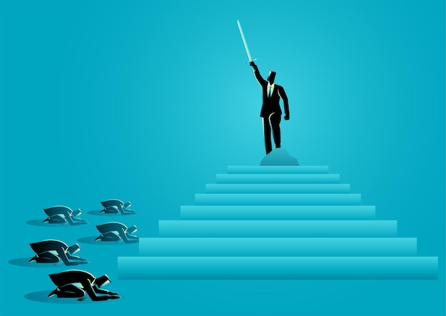 Bedrijfsconcept vectorillustratie van zakenman hief een zwaardconcept op voor waardigheid