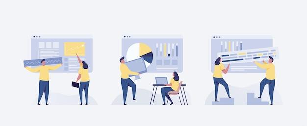 Bedrijfsconcepten van ondernemers. concepten voor webdesign. illustratie