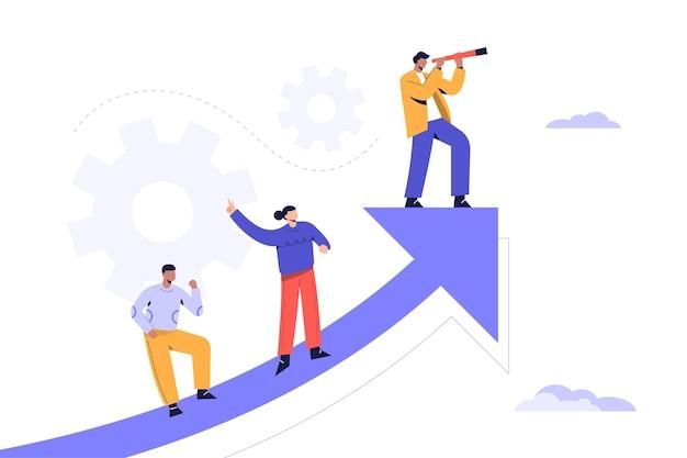 Bedrijfsconcepten vectorillustratie van een zakenman die met verhoging grafische grafiek loopt om de verbeeldingstoekomst te zien.