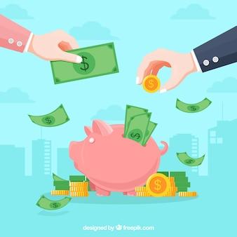 Bedrijfsconceptenachtergrond met geld